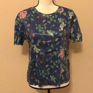 Zara Sequined Floral Blouse